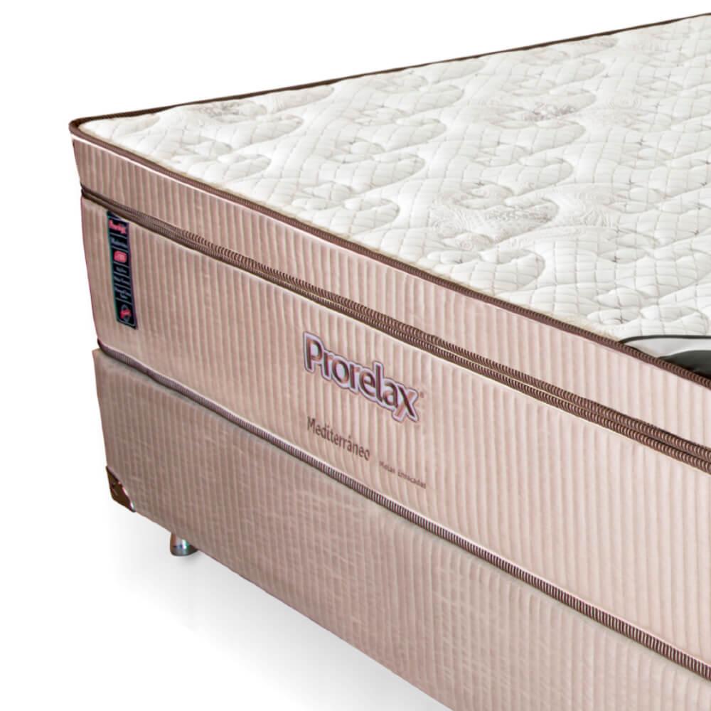 Cama Box Casal (Box + Colchão) Prorelax Mediterrâneo 138x188 Molas Ensacadas Euro Pillow Turn Free