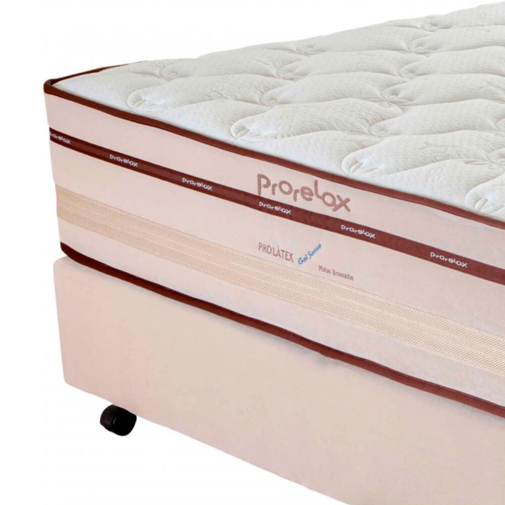 Cama Box Casal (Box + Colchão) Prorelax Pro Látex Gel Sense 138x188 Euro Top Turn Free