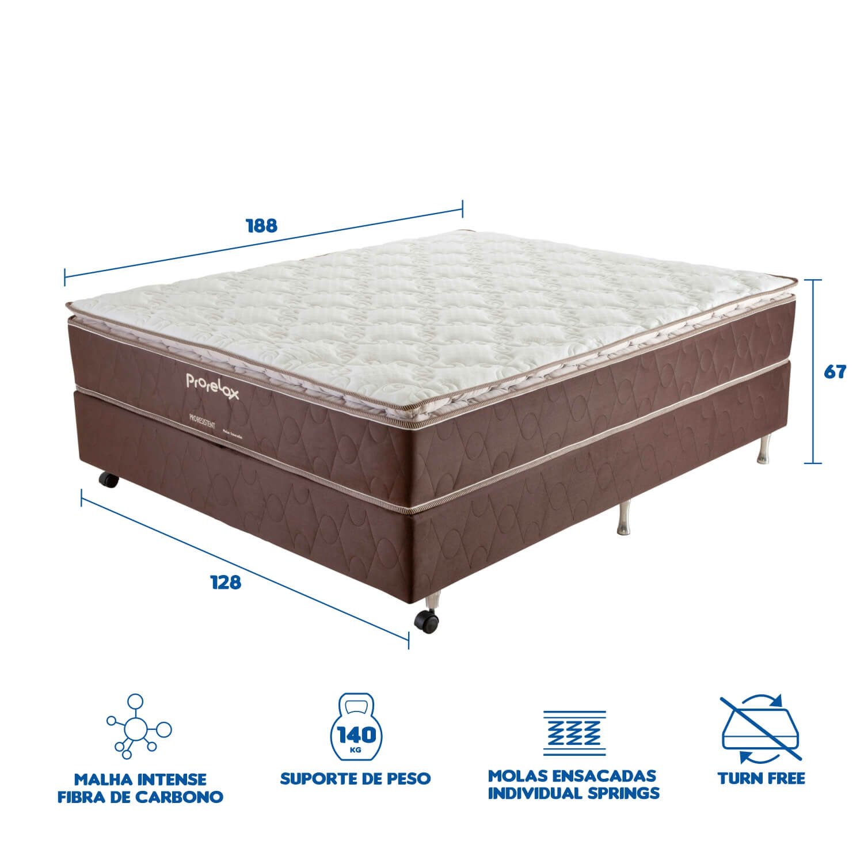 Cama Box Casal (Box + Colchão) Prorelax Pro Resistent 128x188 Pillow Top Turn Free