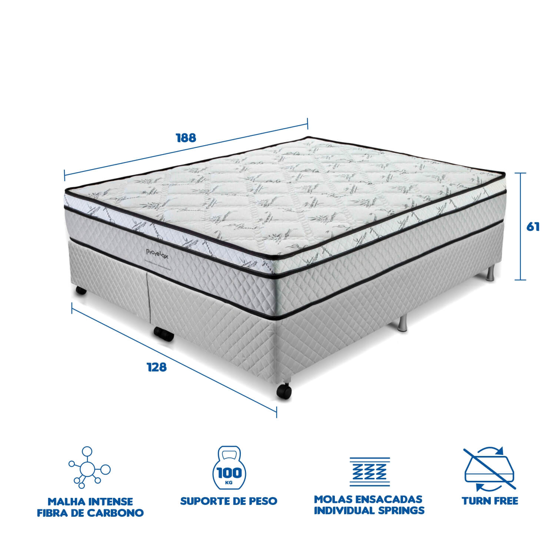 Cama Box Casal (Box + Colchão) Prorelax Pro Soft Bamboo 128x188 Euro Top Turn Free