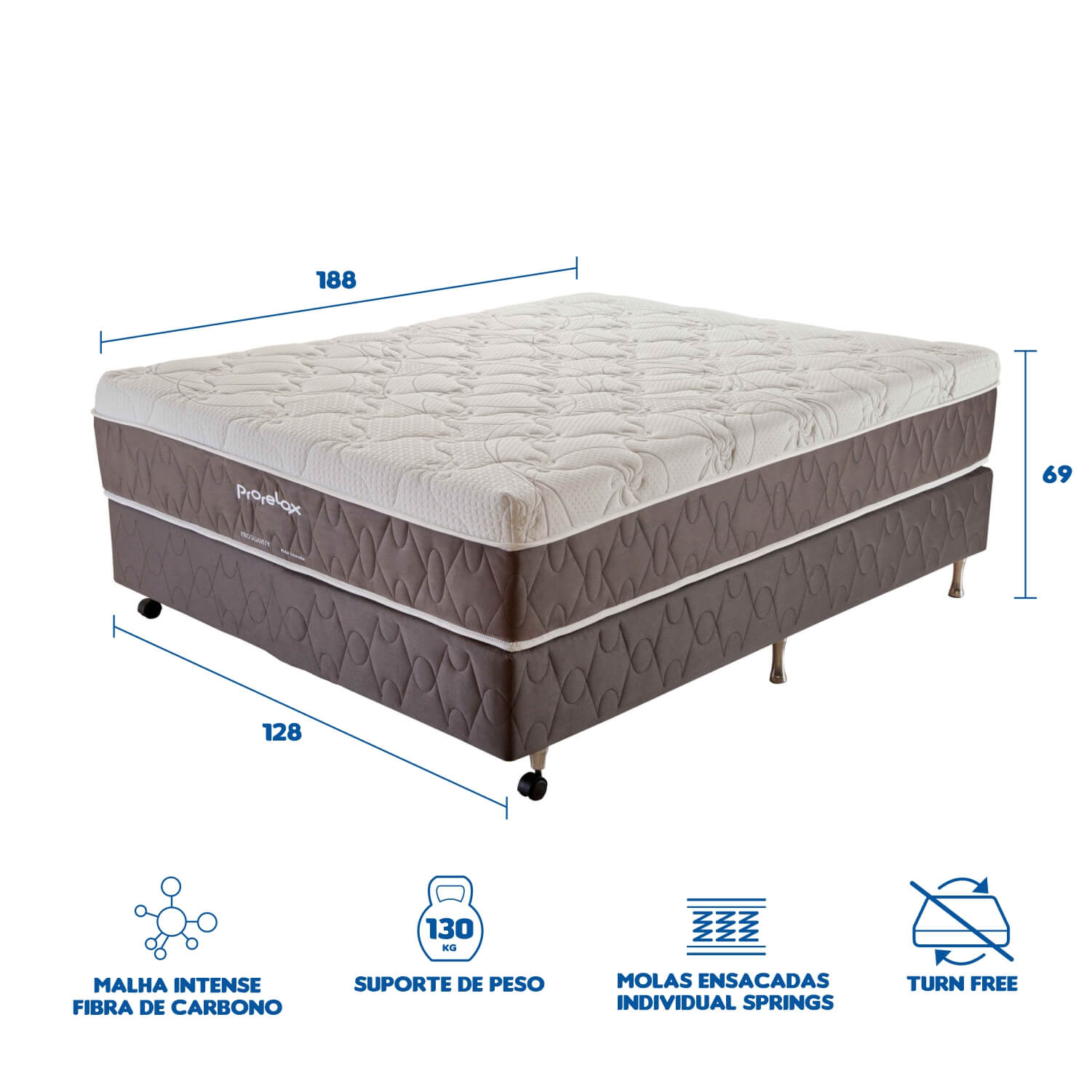 Cama Box Casal (Box + Colchão) Prorelax Pro Suavity 128x188 Pillow Top Turn Free