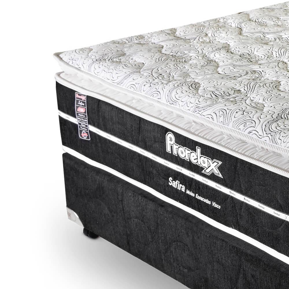 Cama Box Casal (Box + Colchão) Prorelax Safira 138x188 Molas Ensacadas Pillow Top Viscoelástico