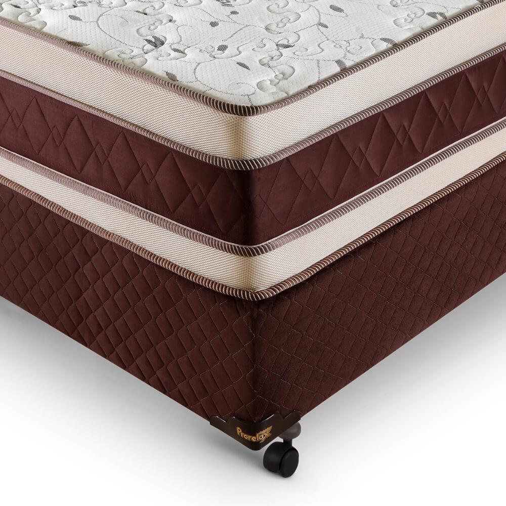 Cama Box Casal (Cama + Box) Prorelax Prata 128x188 Molas Ensacadas Euro Top Duplo Double Face