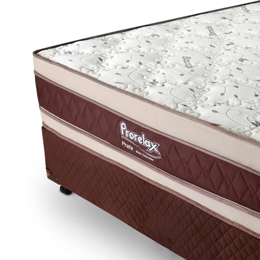 Cama Box Casal (Cama + Box) Prorelax Prata 138x188 Molas Ensacadas Euro Top Duplo Double Face
