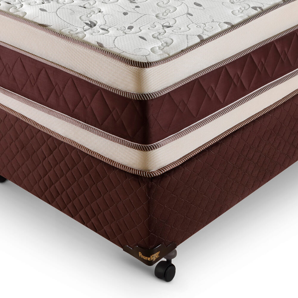 Cama Box King (Cama + Box) Prorelax Prata 193x203 Molas Ensacadas Euro Top Duplo Double Face