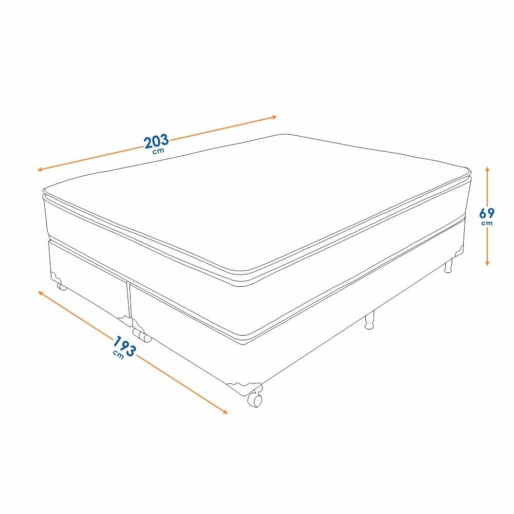 Cama Box King Size (Box + Colchão) Prorelax Látex Soft Gel 193x203 Euro Pillow + Pillow Top Látex