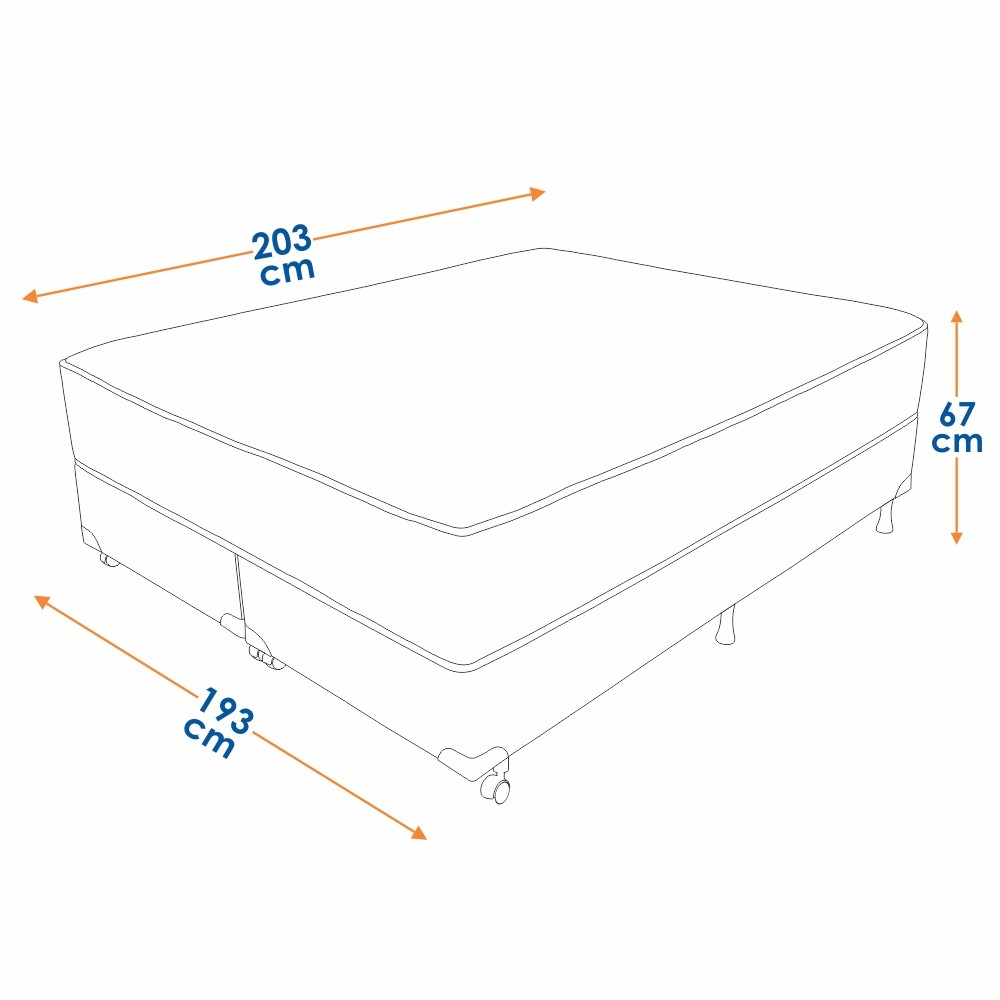 Cama Box King Size (Box + Colchão) Prorelax Safira 193x203 Molas Ensacadas Pillow Top Viscoelástico