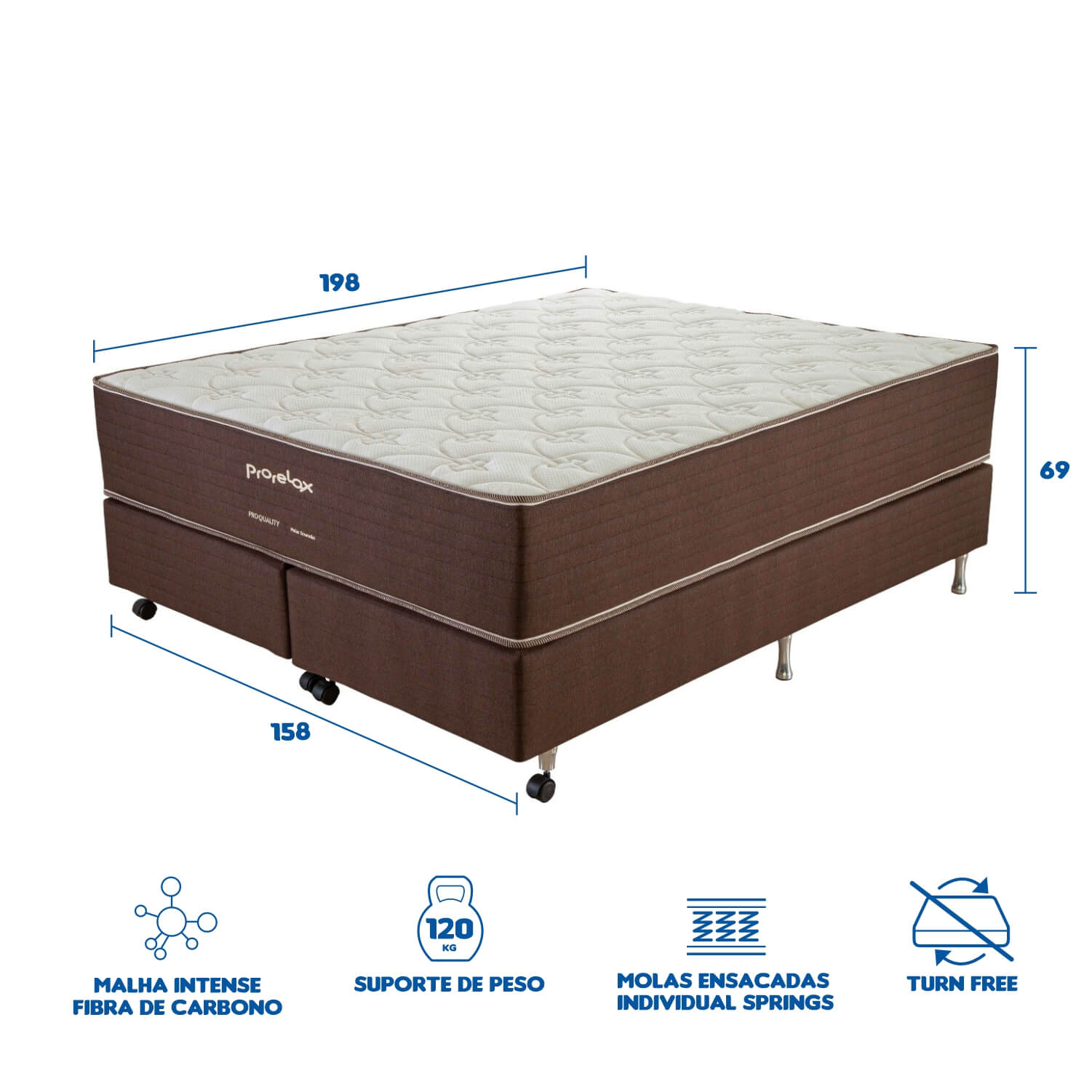 Cama Box Queen Size (Box + Colchão) Prorelax Pro Quality 158x198 Pillow In Turn Free