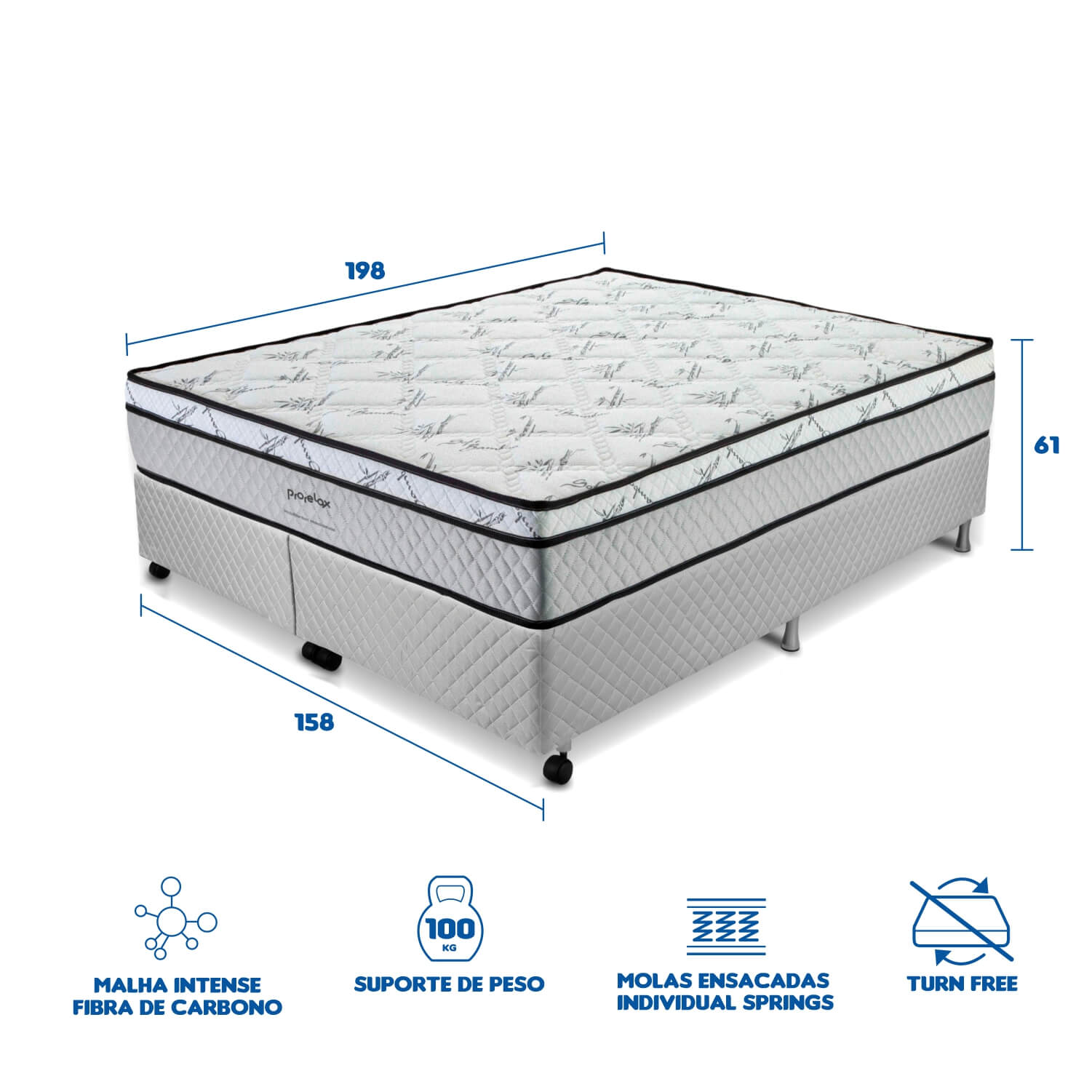 Cama Box Queen Size (Box + Colchão) Prorelax Pro Soft Bamboo 158x198 Euro Top Turn Free