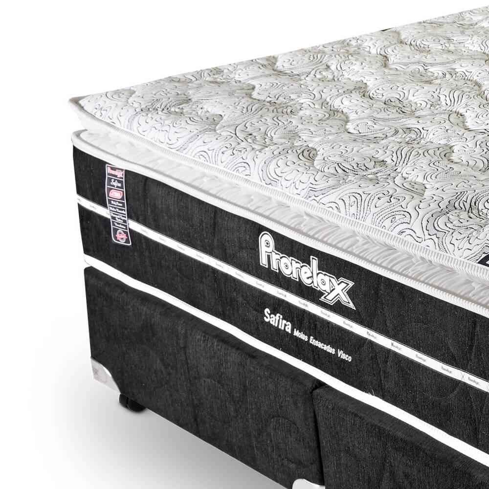 Cama Box Queen Size (Box + Colchão) Prorelax Safira 158x198 Molas Ensacadas Pillow Top Viscoelástico