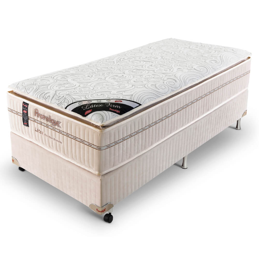 Cama Box Solteiro (Box + Colchão) Prorelax Látex Firm 96x203 Molas Ensacadas Pillow Turn Free