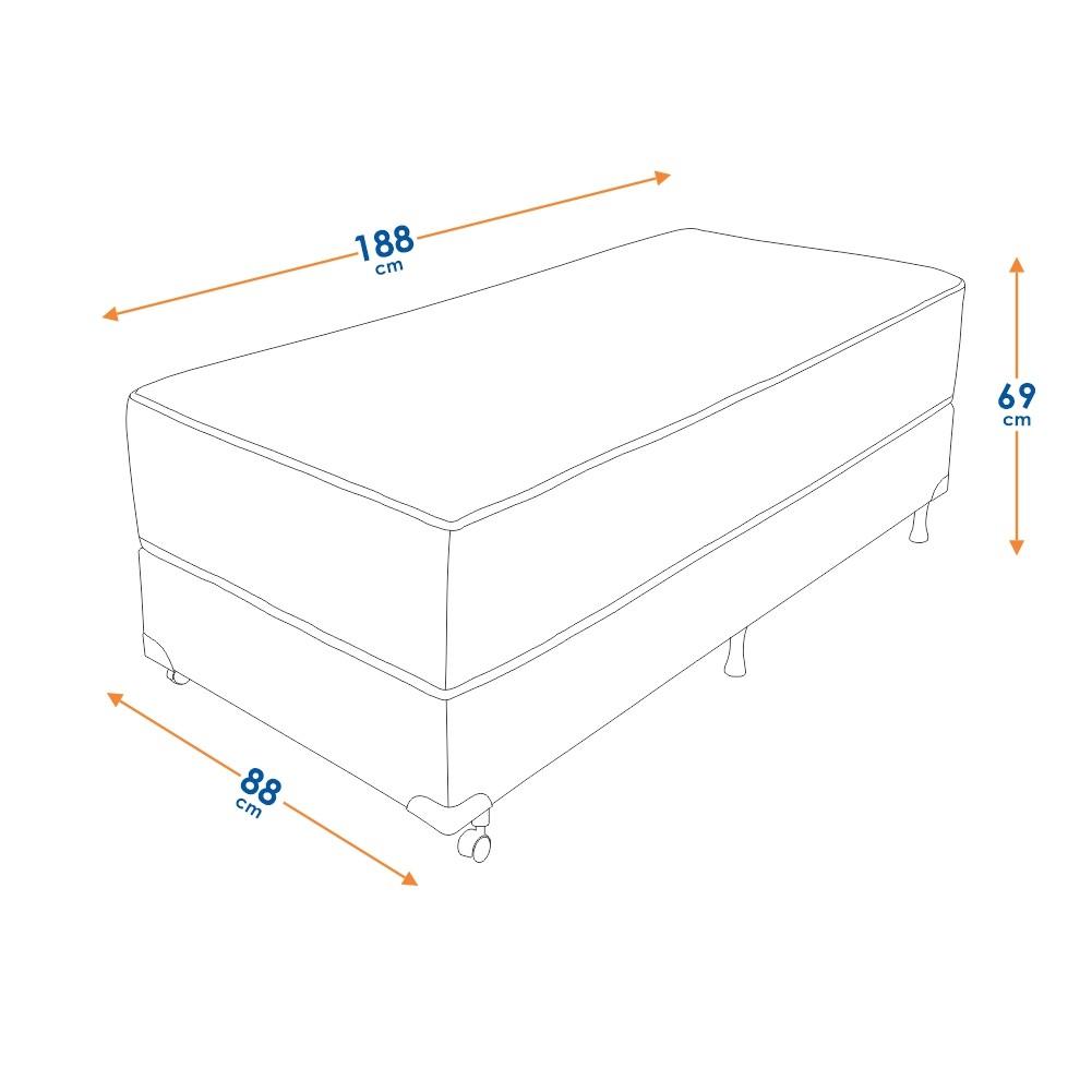 Cama Box Solteiro (Box + Colchão) Prorelax Látex Soft Gel 88x188 Euro Pillow + Pillow Top Látex
