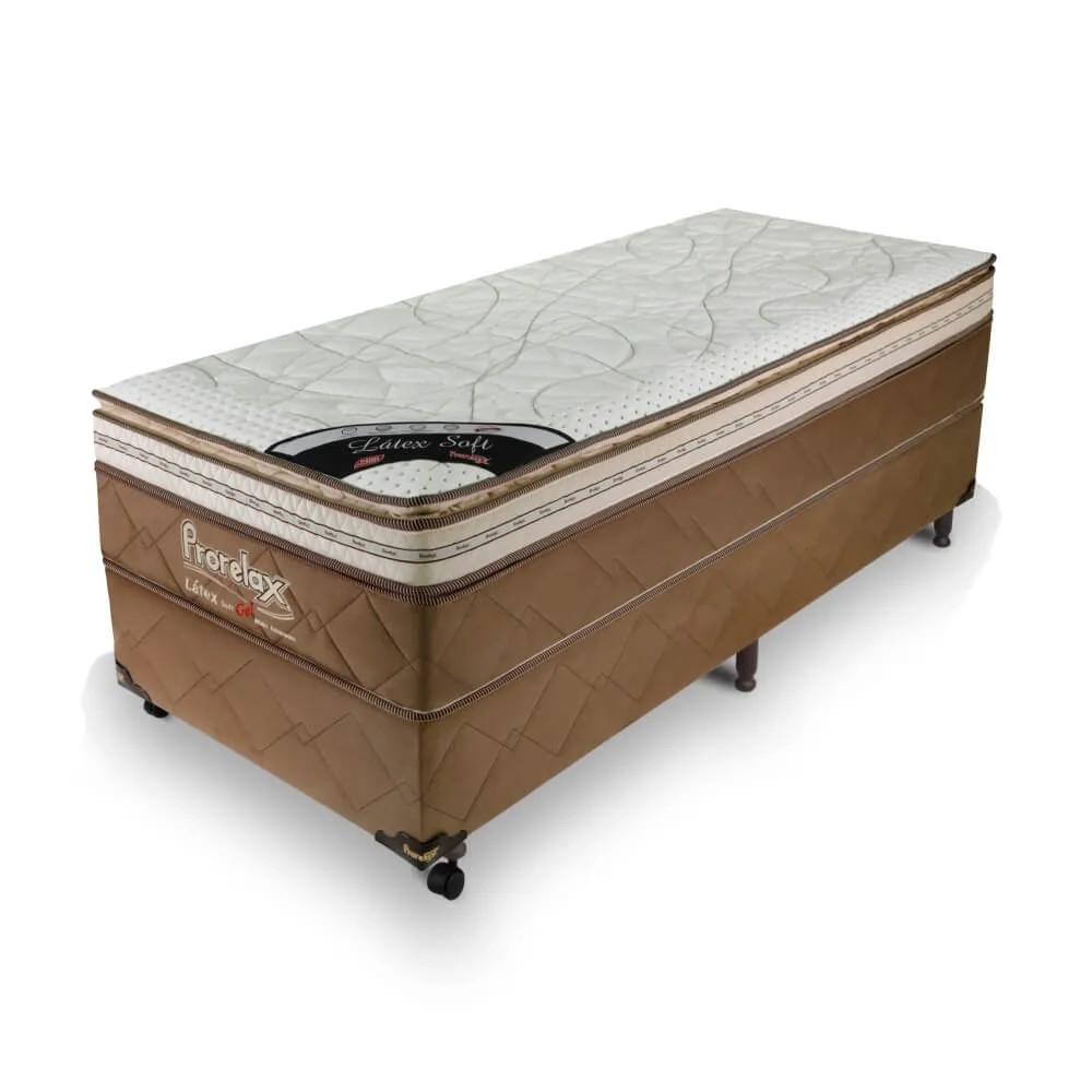 Cama Box Solteiro (Box + Colchão) Prorelax Látex Soft Gel 96x203 Euro Pillow + Pillow Top Látex