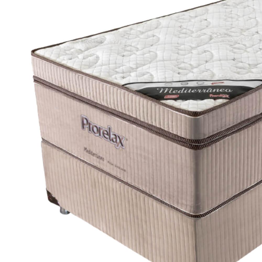 Cama Box Solteiro (Box + Colchão) Prorelax Mediterrâneo 78x188 Molas Ensacadas Euro Pillow Turn Free