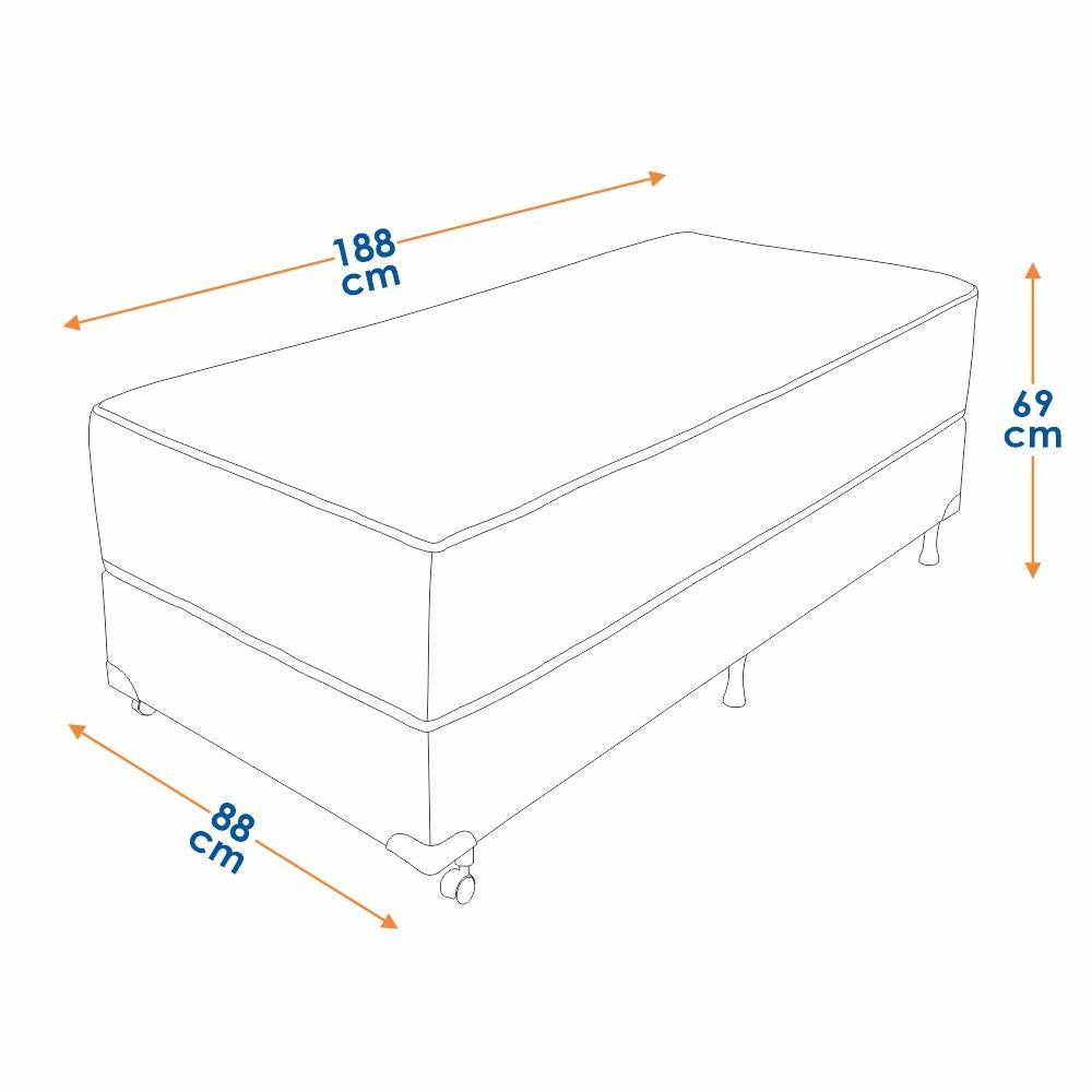 Cama Box Solteiro (Box + Colchão) Prorelax Mediterrâneo 88x188 Molas Ensacadas Euro Pillow - Marrom