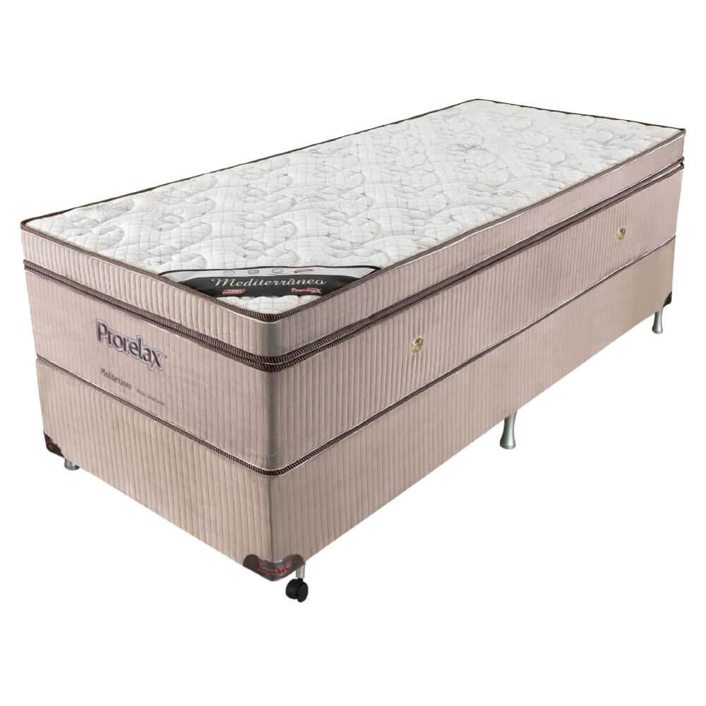 Cama Box Solteiro (Box + Colchão) Prorelax Mediterrâneo 96x203 Molas Ensacadas Euro Pillow Turn Free