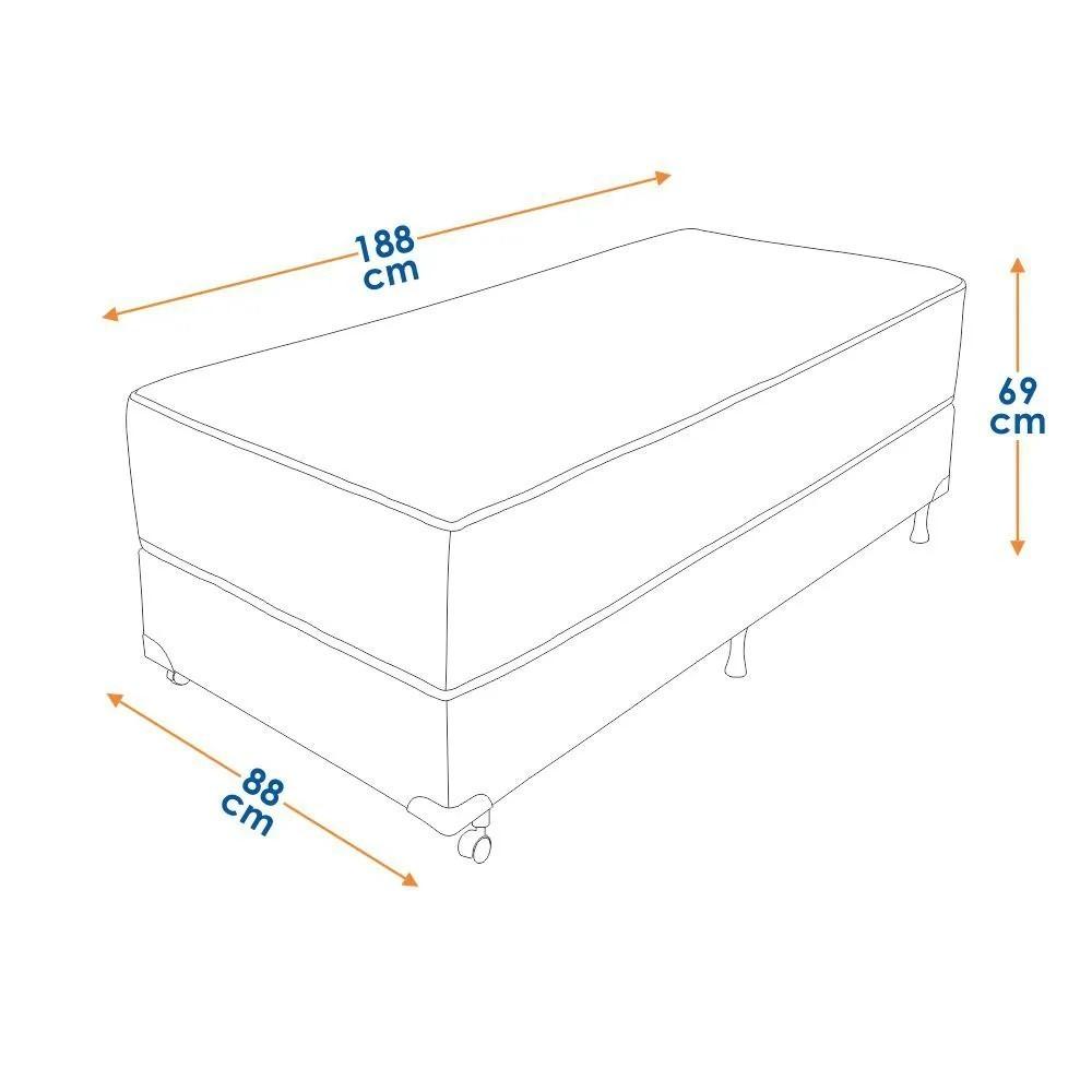 Cama Box Solteiro (Box + Colchão) Prorelax Ouro 88x188 Molas Ensacadas Pillow Top Viscoelástico