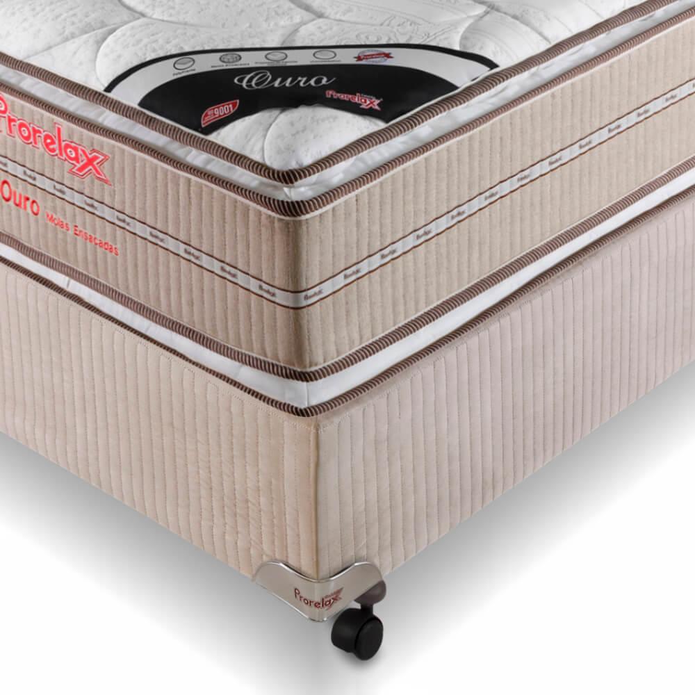 Cama Box Solteiro (Box + Colchão) Prorelax Ouro 96x203 Molas Ensacadas Pillow Top Viscoelástico