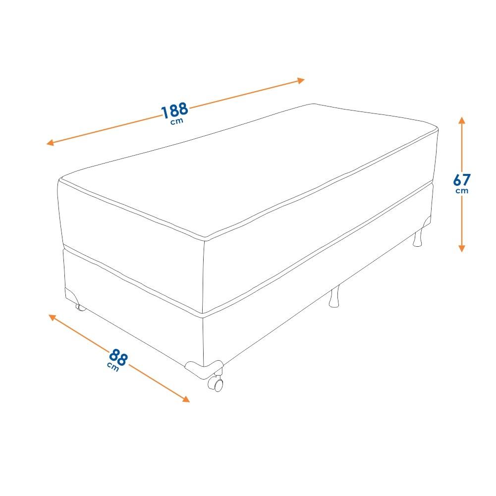 Cama Box Solteiro (Box + Colchão) Prorelax Safira 88x188 Molas Ensacadas Pillow Top Viscoelástico