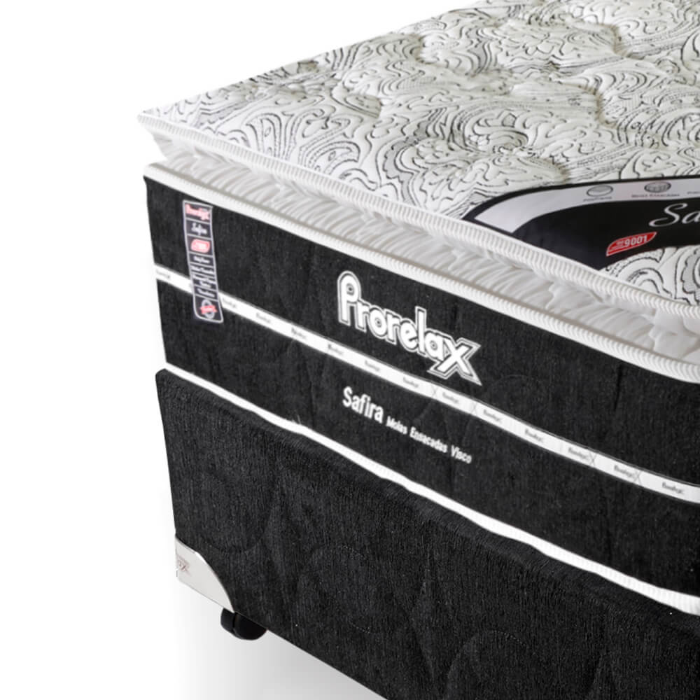 Cama Box Solteiro (Box + Colchão) Prorelax Safira 96x203 Molas Ensacadas Pillow Top Viscoelástico