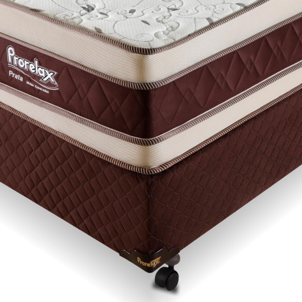 Cama Box Solteiro (Cama + Box) Prorelax Prata 78x188 Molas Ensacadas Euro Top Duplo Double Face