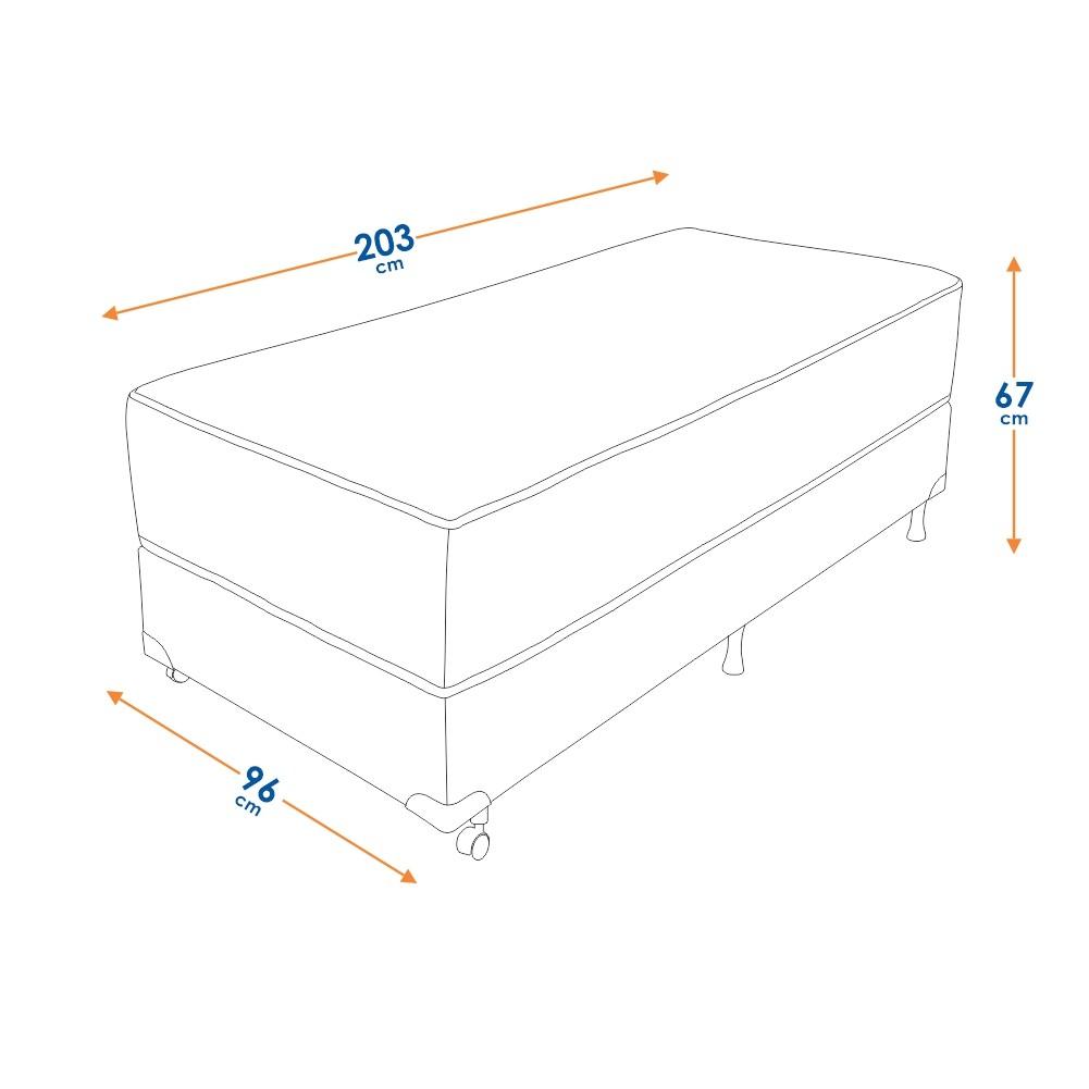 Cama Box Solteiro (Cama + Box) Prorelax Prata 96x203 Molas Ensacadas Euro Top Duplo Double Face