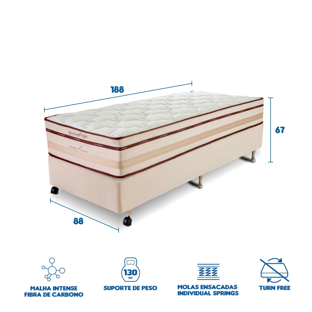 Conjunto Cama Box Prorelax Solteiro Pro Látex Gel Sense 88x188 Molas Ensacadas Euro Top Turn Free