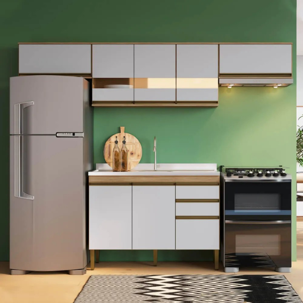 Cozinha Compacta Casablanca A3495 Casamia 4 Peças 9 Portas e 2 Gavetas - Mel/Off White