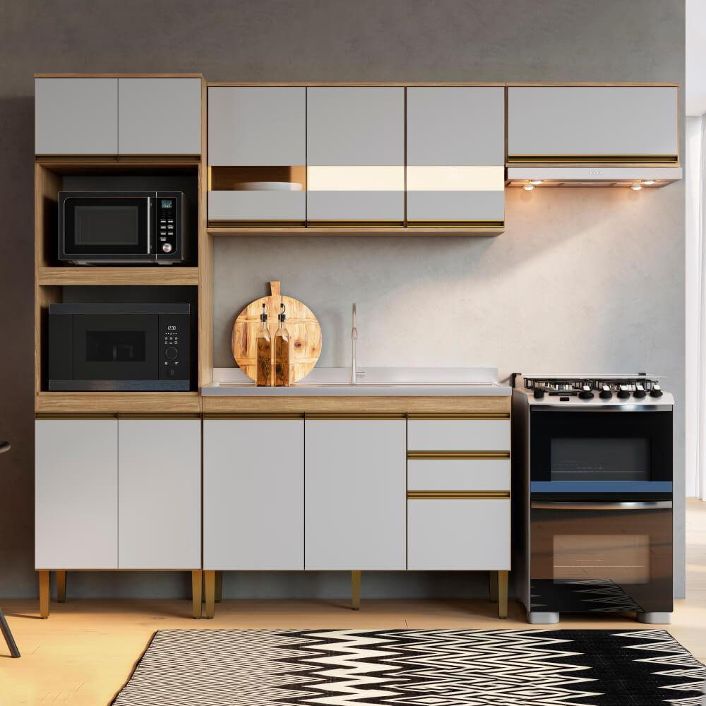 Cozinha Compacta Casablanca A3496 Casamia 4 Peças 11 Portas e 2 Gavetas - Mel/Off White