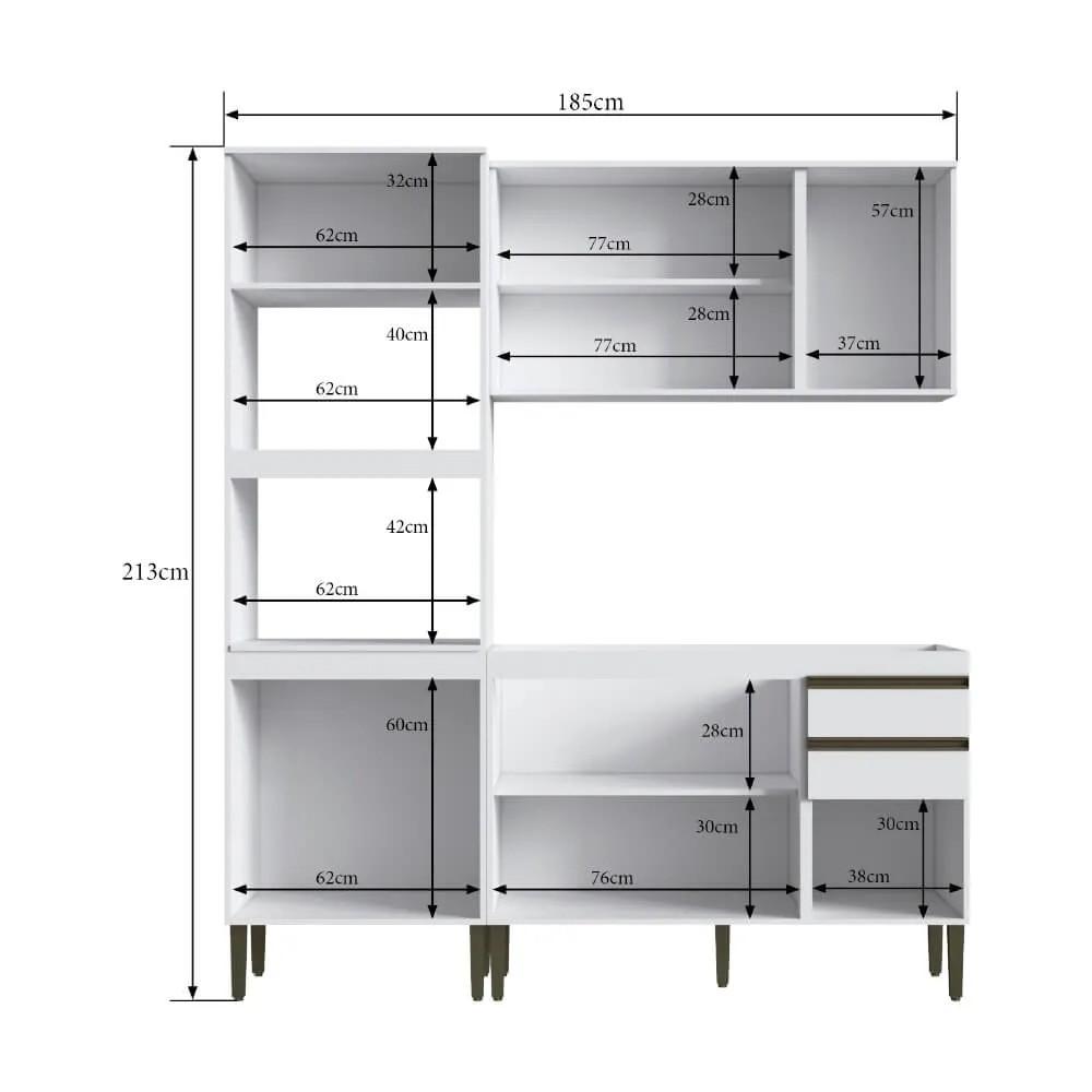 Cozinha Compacta Casablanca A3497 Casamia 3 Peças 10 Portas e 2 Gavetas - Branco Acetinado