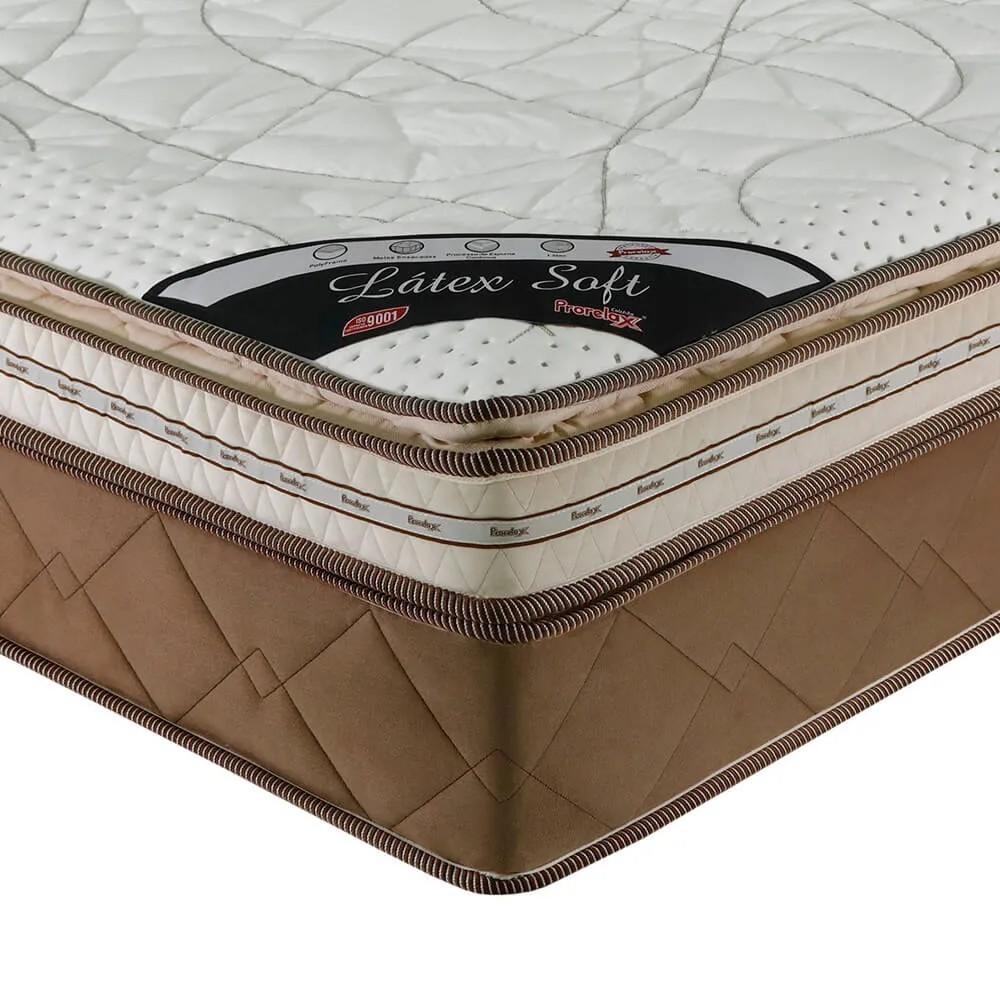 Colchão Casal Prorelax Látex Soft Gel 138x188x36 Molas Ensacadas Euro Pillow + Pillow Top Látex Importado