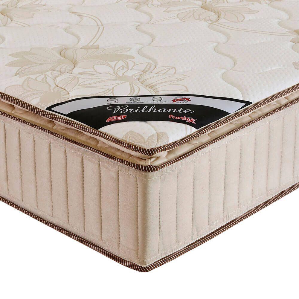 Colchão Casal Prorelax Brilhante 138x188x30 Molas Ensacadas Pillow Top Turn Free - Bege