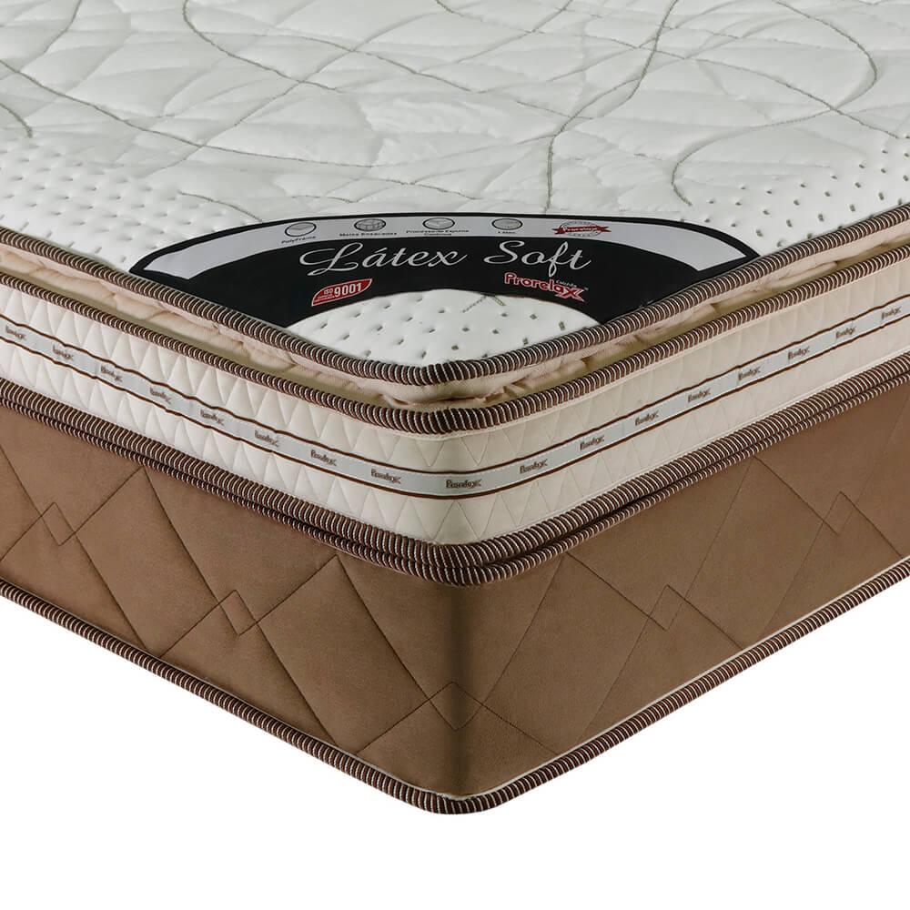 Colchão Casal Prorelax Látex Soft Gel 128x188x36 Molas Ensacadas Euro Pillow + Pillow Top Látex Importado