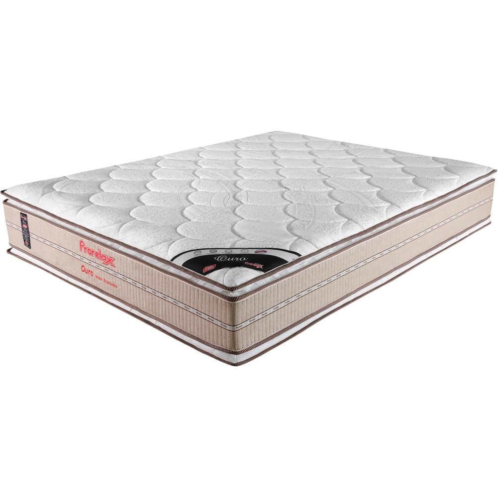 Colchão Casal Prorelax Ouro 138x188x32 Molas Ensacadas Pillow Top Viscoelástico Double Face