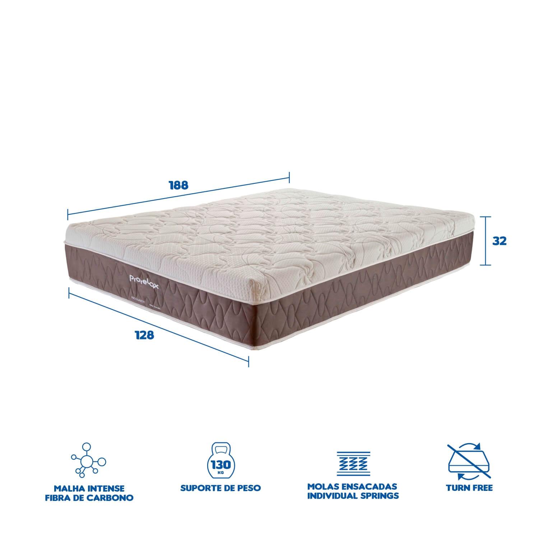 Colchão Casal Prorelax Pro Suavity 128x188x30 Molas Ensacadas Pillow Top Turn Free