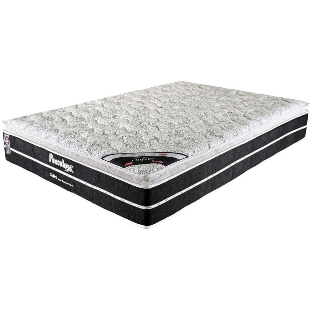 Colchão Casal Prorelax Safira 128x188x30 Molas Ensacadas Pillow Top Viscoelástico - Preto