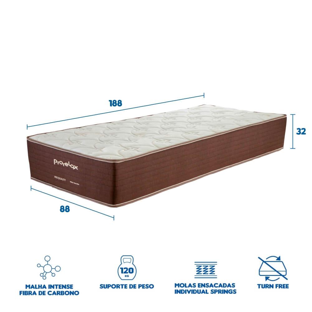 Colchão Solteiro Prorelax Pro Quality 88x188x32 Molas Ensacadas Pillow In Turn Free