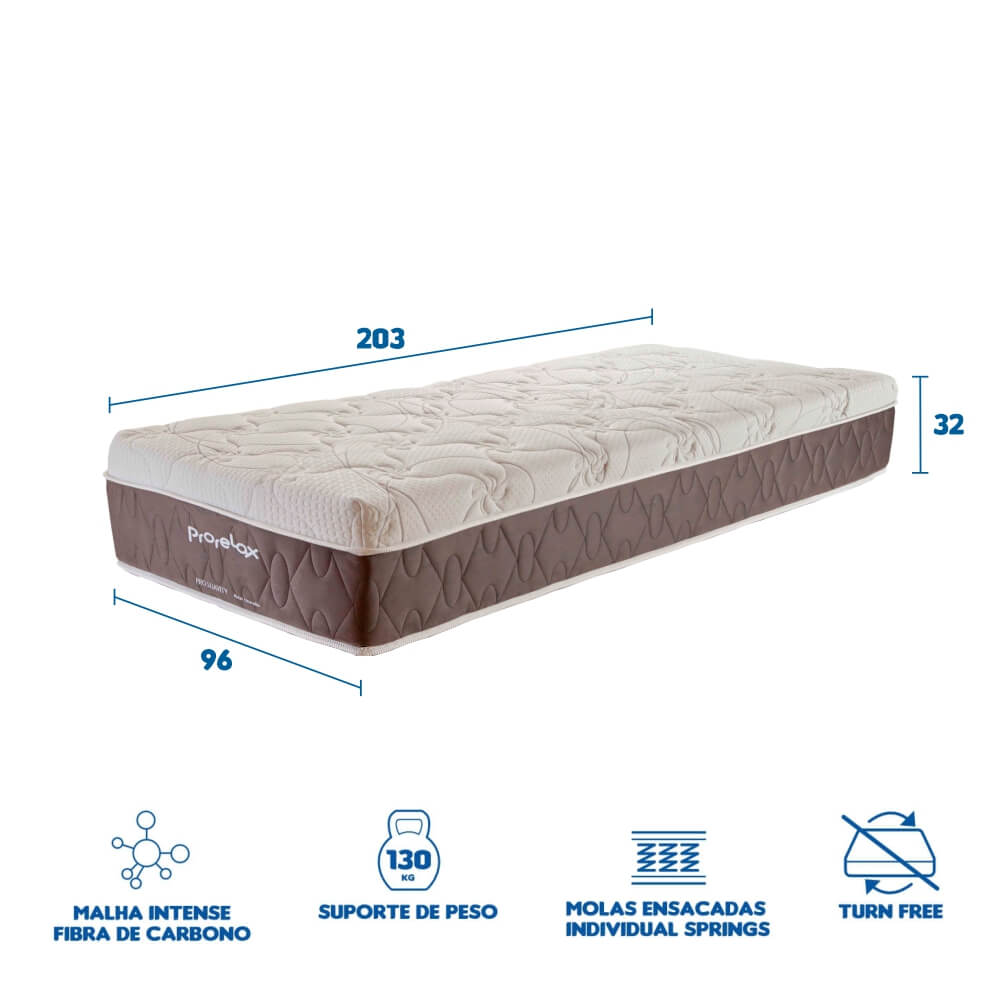 Colchão Queen Prorelax Pro Suavity 96x203x32 Molas Ensacadas Pillow Top Turn Free