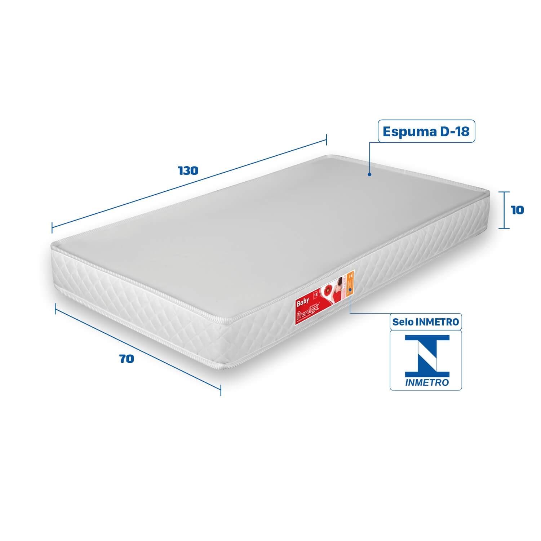 Colchão para Berço Prorelax Baby D-18 Liso 130x70x10  - Branco