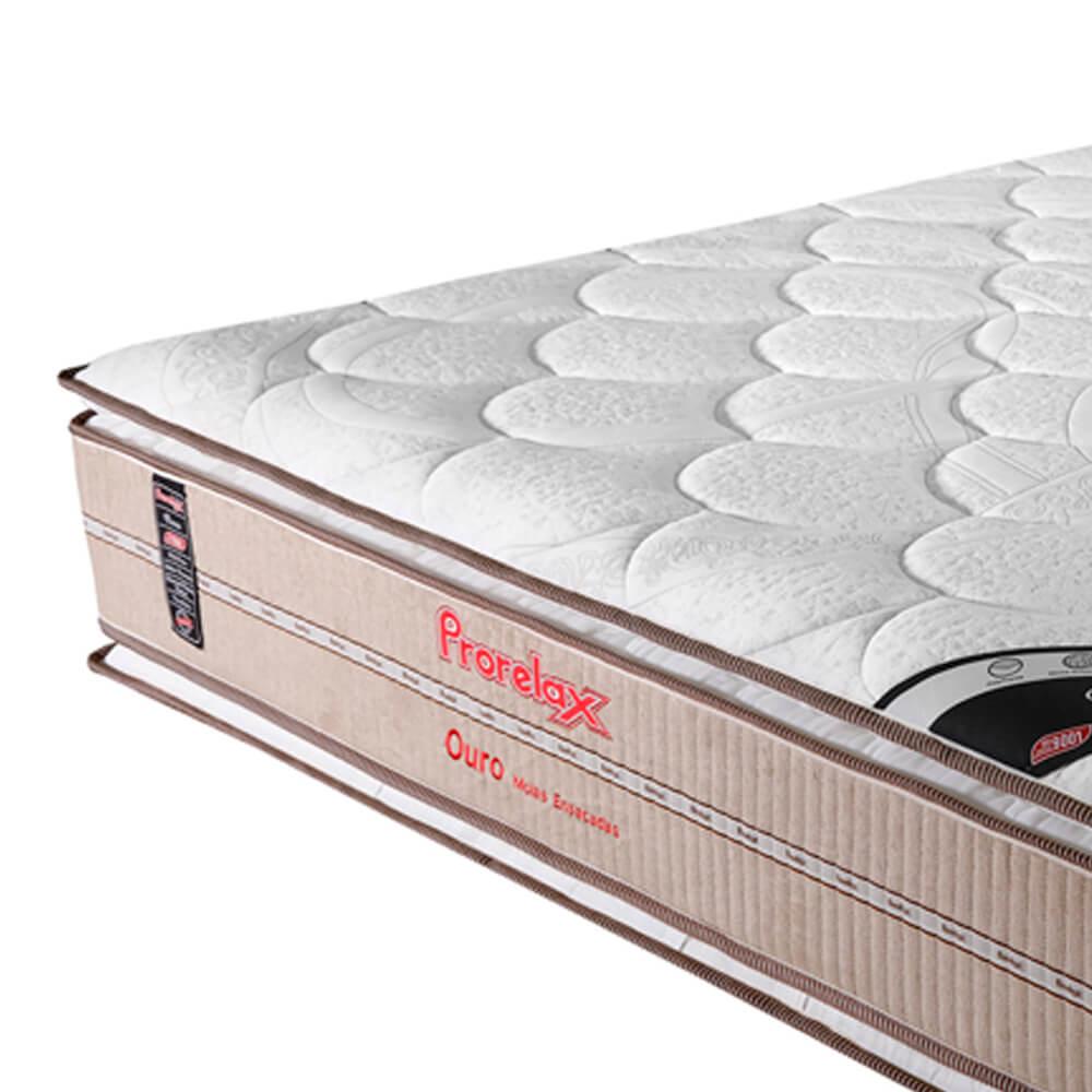 Colchão Queen Prorelax Ouro 158x198x32 Molas Ensacadas Pillow Top Viscoelástico Double Face