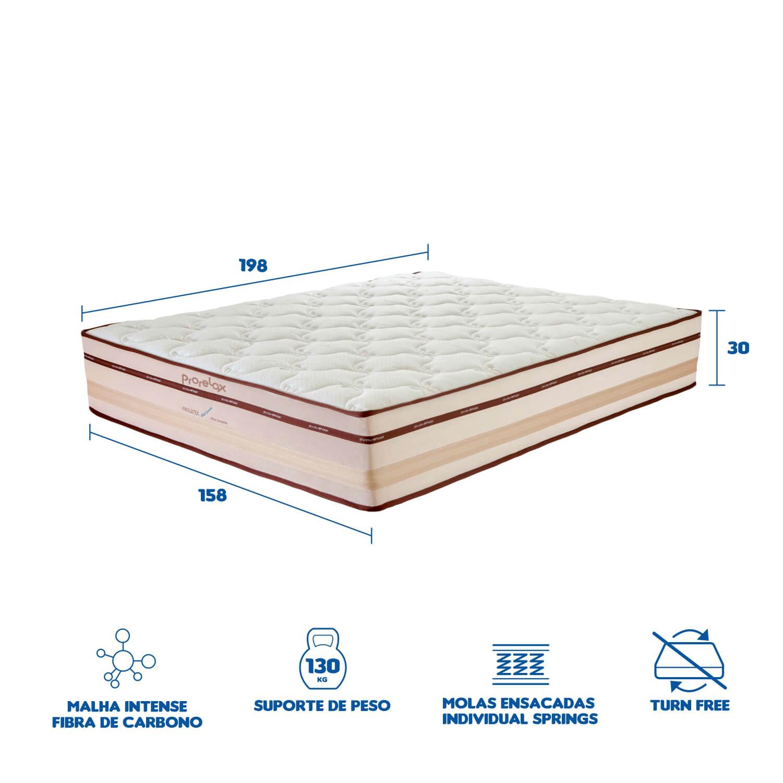 Colchão Queen Prorelax Pro Látex Gel Sense 158x198x30 Molas Ensacadas Euro Top Turn Free