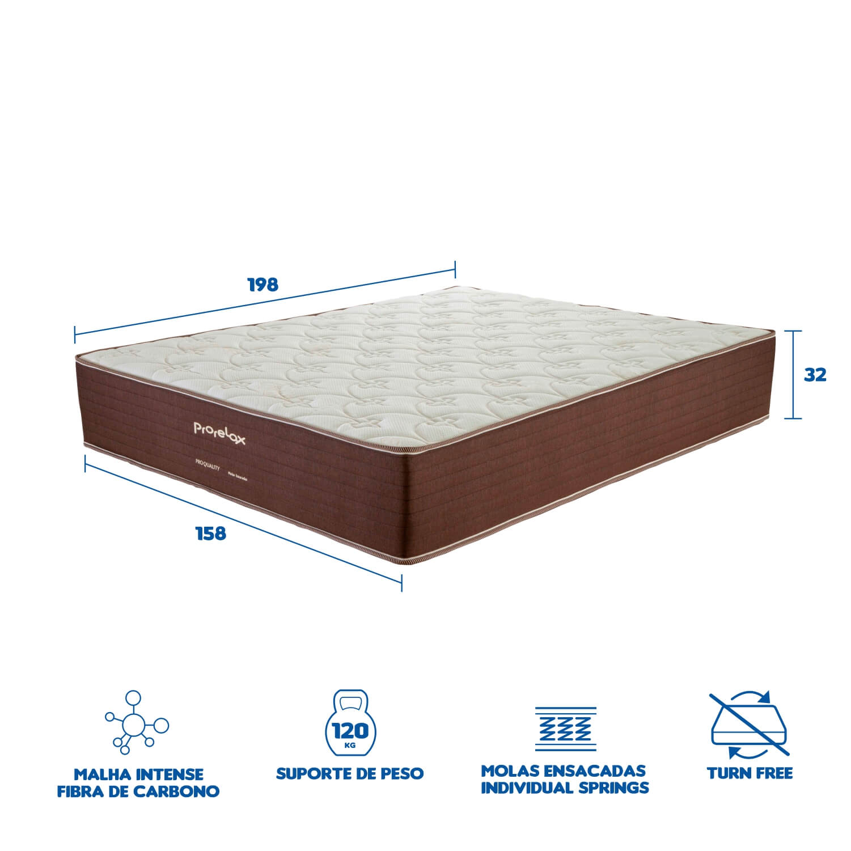 Colchão Queen Prorelax Pro Quality 158x198x32 Molas Ensacadas Pillow In Turn Free