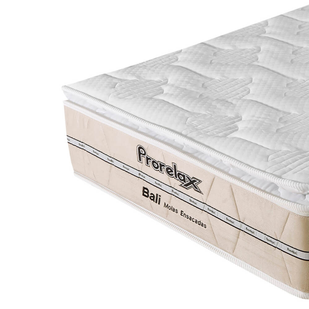 Colchão Solteiro Prorelax Bali 88x188x26 Molas Ensacadas Pillow Top Turn Free - Bege