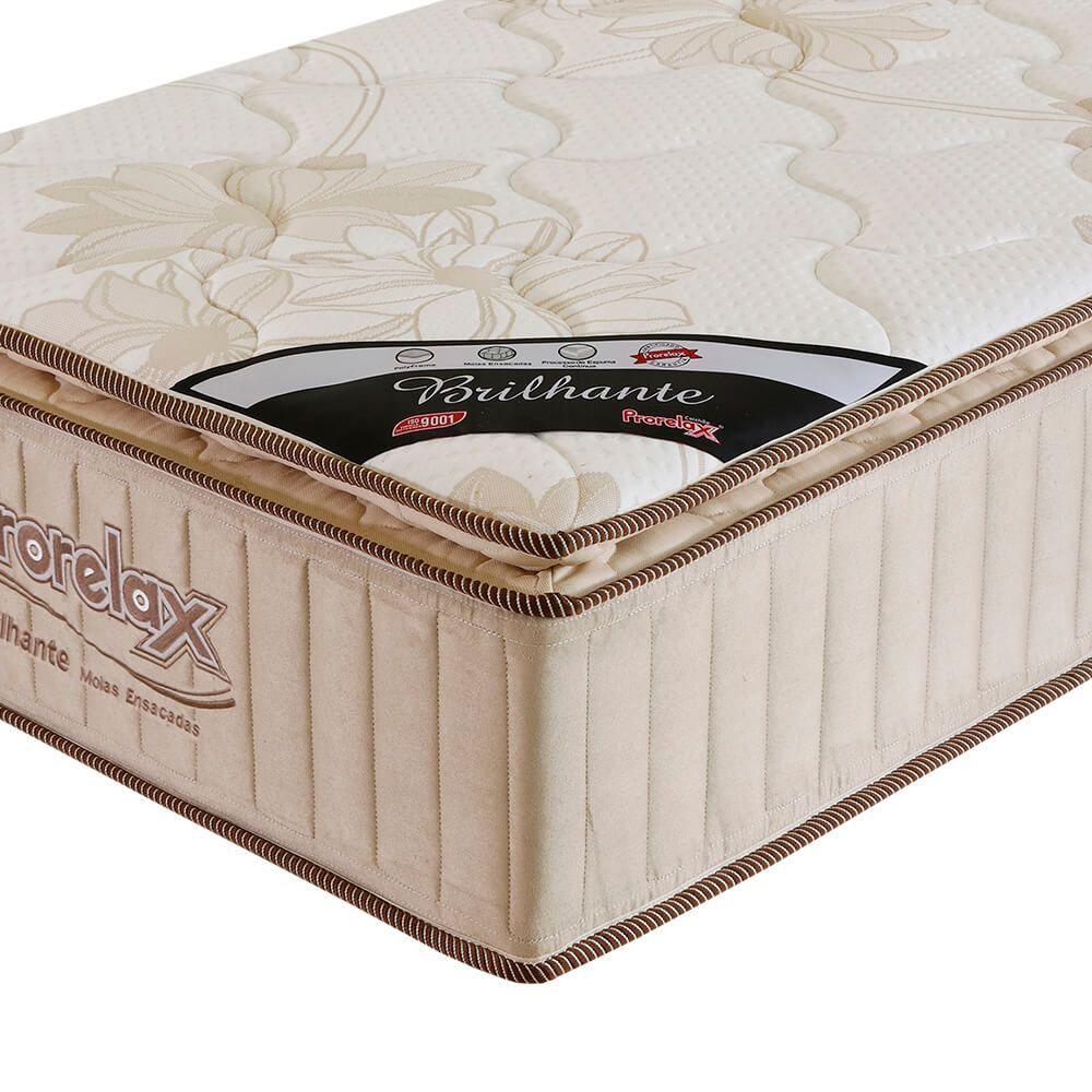 Colchão Solteiro Prorelax Brilhante 88x188x30 Molas Ensacadas Pillow Top Turn Free - Bege