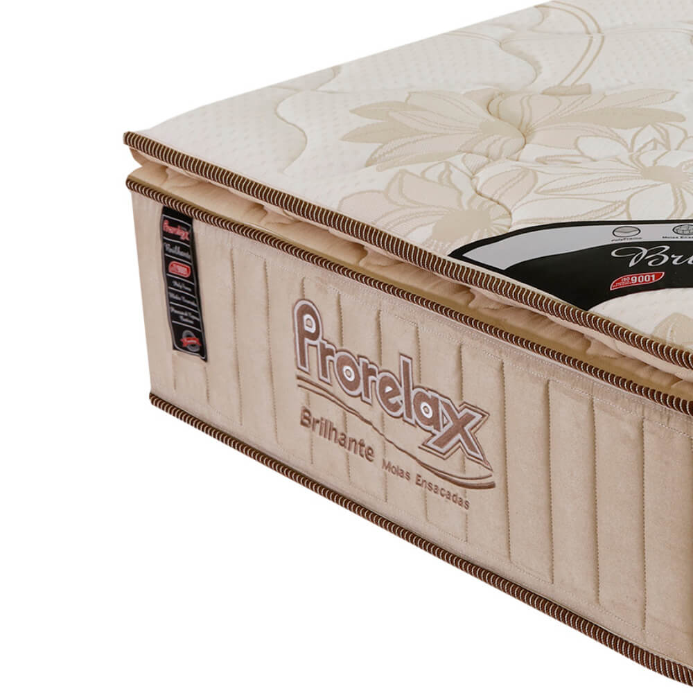 Colchão Solteiro Prorelax Brilhante 96x203x30 Molas Ensacadas Pillow Top Turn Free - Bege