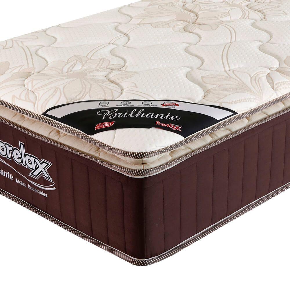 Colchão Solteiro Prorelax Brilhante 78x188x30 Molas Ensacadas Pillow Top Turn Free - Marrom