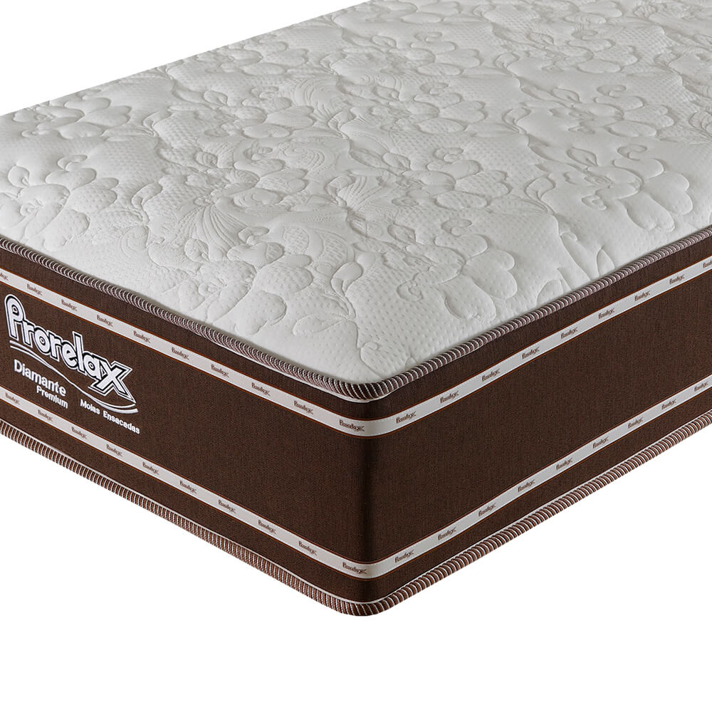 Colchão Solteiro Prorelax Diamante 96x203x30 Molas Ensacadas Pillow In Turn Free - Marrom