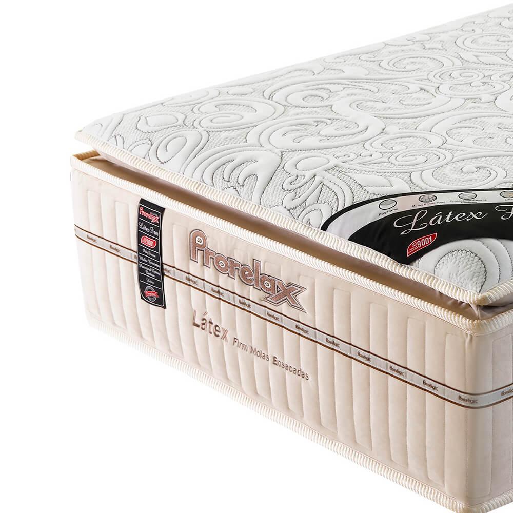 Colchão Solteiro Prorelax Látex Firm 88x188x36 Molas Ensacadas Pillow Top Látex Turn Free