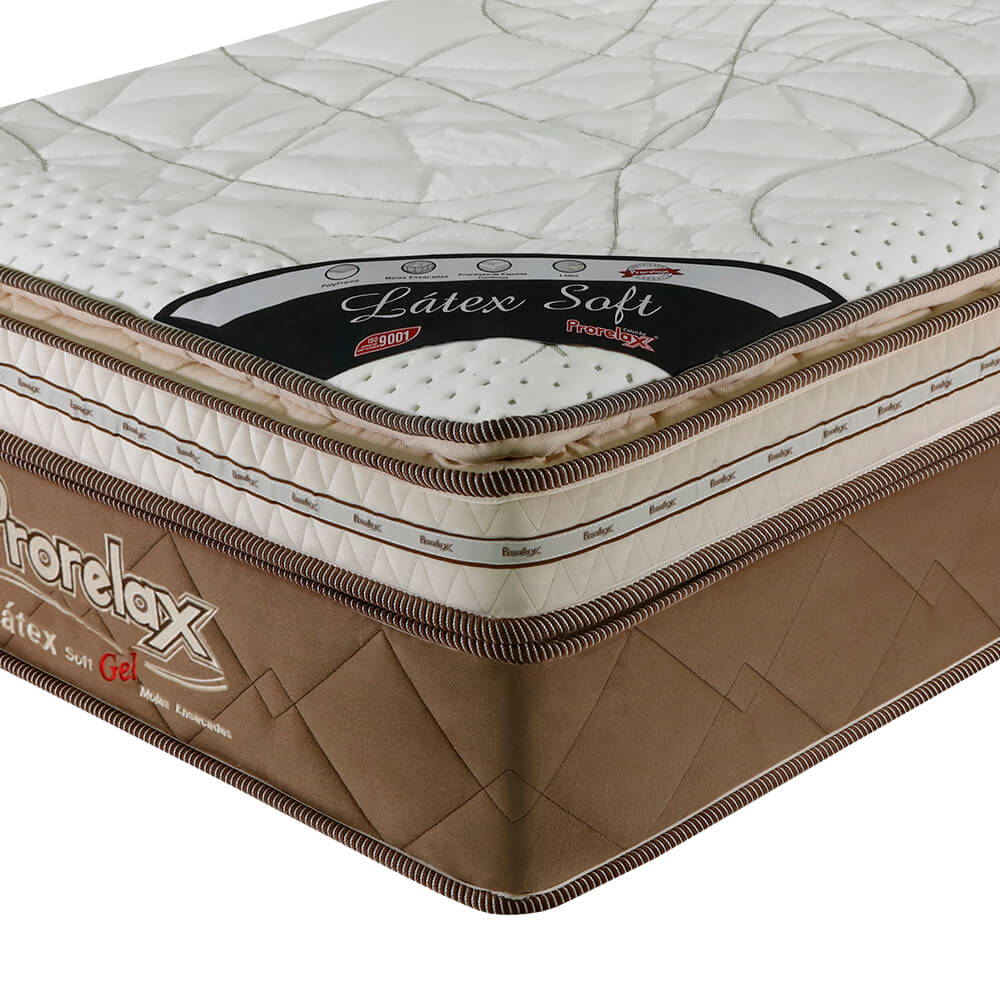 Colchão Solteiro Prorelax Látex Soft Gel 78x188x36 Molas Ensacadas Euro Pillow + Pillow Top Látex Importado