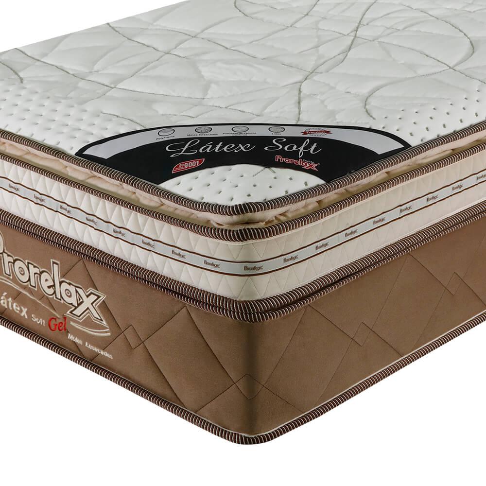 Colchão Solteiro Prorelax Látex Soft Gel 88x188x36 Molas Ensacadas Euro Pillow + Pillow Top Látex Importado